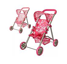 Розовая коляска игрушечная прогулочная для кукол Melogo 9304, игрушки для девочек 4 лет