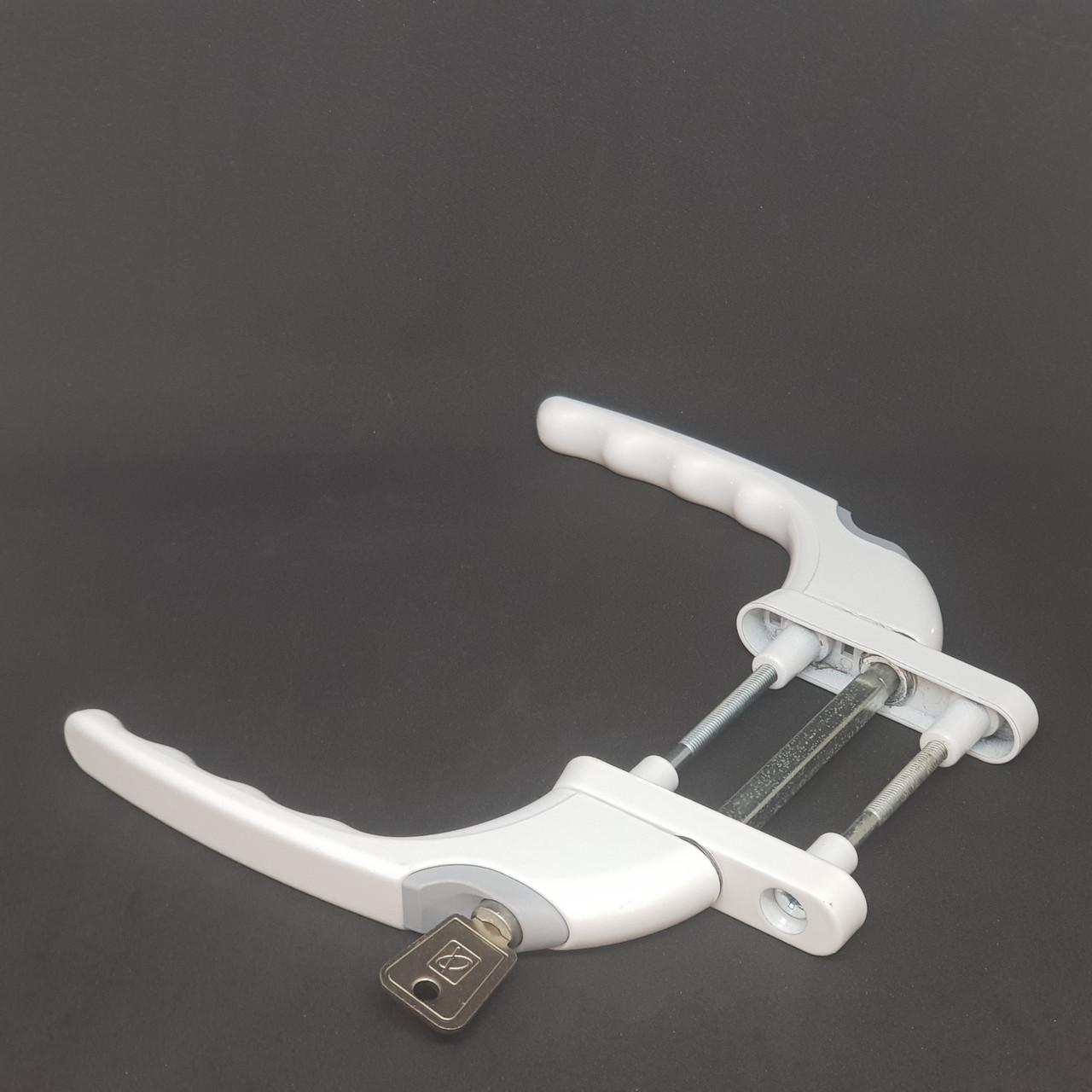 Ручка Planet для балконной двери двухсторонняя с ключом (белая)