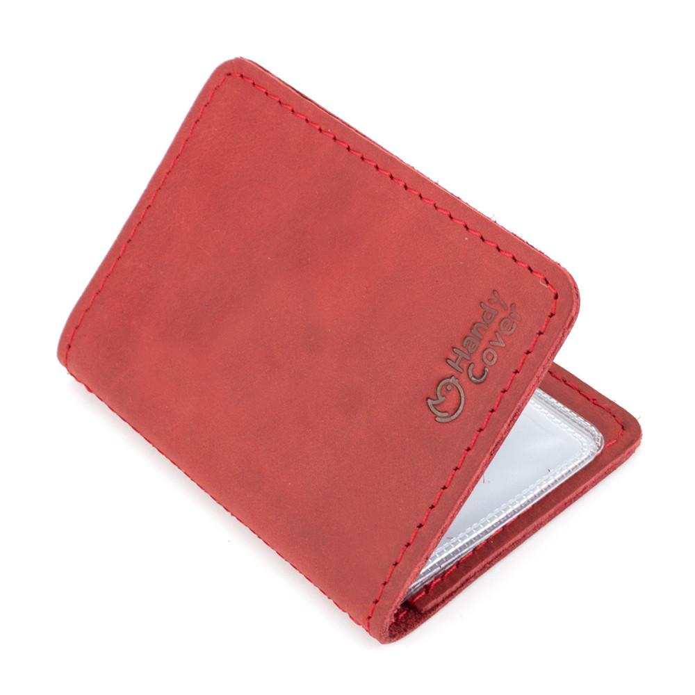 Шкіряна обкладинка на ID паспорт, права Handycover HC0047 червона