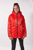 Детская подростковая демисезонная куртка для девочек Sofi (146-164см) Красный Tiaren на весну-осень