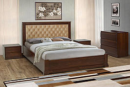 Двоспальне дерев'яне ліжко Арізона з підйомною рамою 160 Мікс меблі , колір горіх / темний горіх / білий
