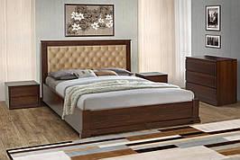 Двуспальная деревянная  кровать Аризона с подъемной рамой 160 Микс мебель , цвет орех / темный орех / белый