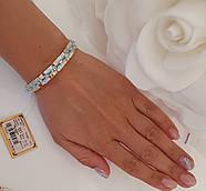 Срібний браслет із золотими вставками та різнокольоровими фіанітами