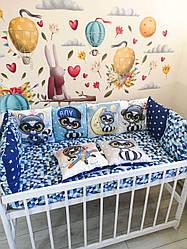 Защита-бортики подушки и простынь на резинке, енот в кепке