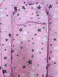 Кокон гнездышко (позиционер для новорожденных). Цвет: розовый звезды. В подарок ортопедическая подушка, фото 2