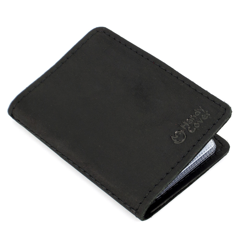 Обложка кожаная на ID паспорт, права Handycover HC0047 черная