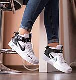 Nike Air Force 1 Mid LV8  Женские осенние черно-белые кожаные кроссовки. Женские кроссовки на шнурках, фото 8