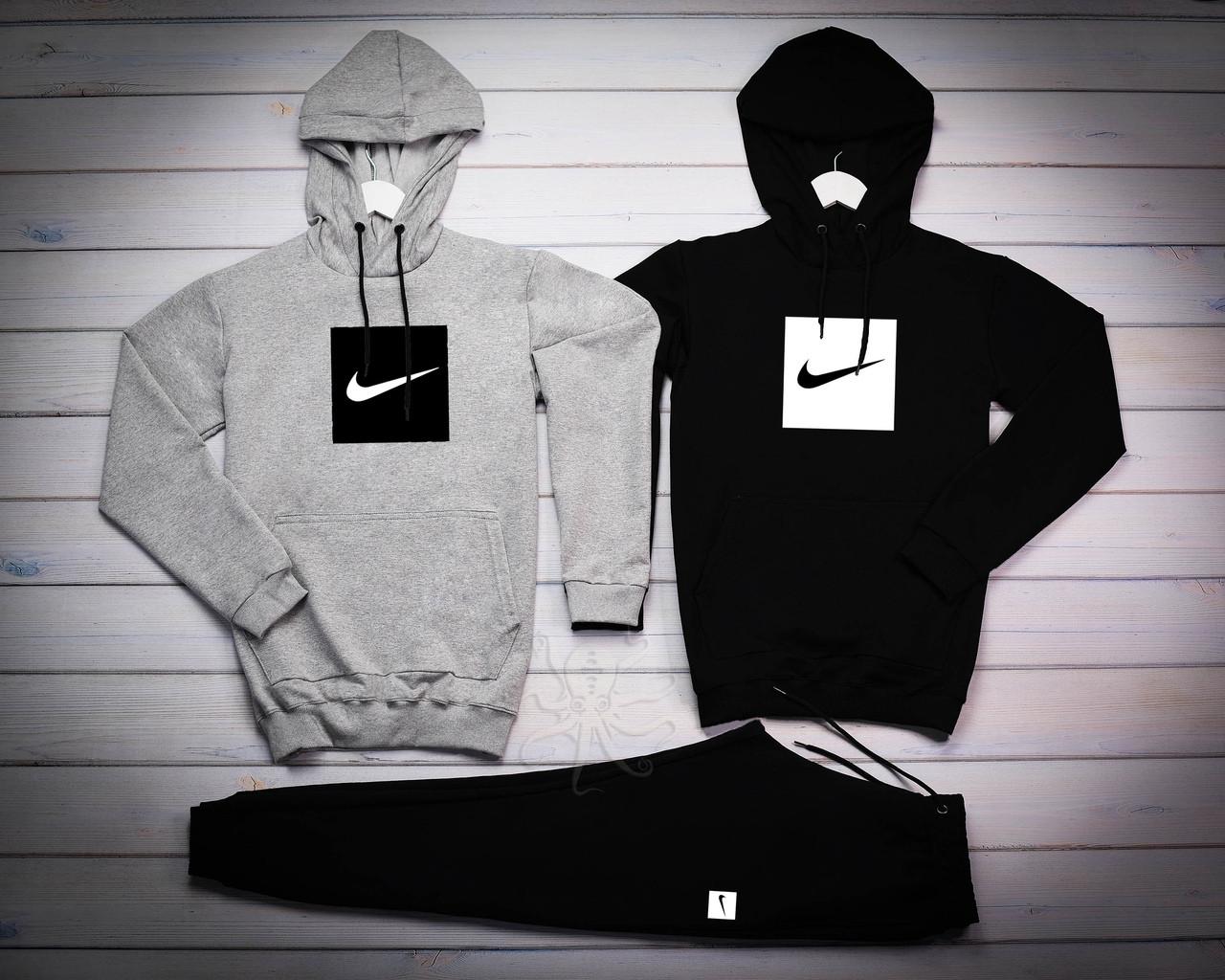 Nike Мужской серый+черный спортивный костюм с капюшоном демисезонный.Худи серое черное штаны черные комплект