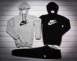 Nike Мужской серый+черный спортивный костюм с капюшоном демисезонный.Худи серое черное штаны черные комплект, фото 2