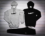 Nike Мужской серый+черный спортивный костюм с капюшоном демисезонный.Худи серое черное штаны черные комплект, фото 3