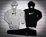 Nike Мужской серый+черный спортивный костюм с капюшоном демисезонный.Худи серое черное штаны черные комплект, фото 4
