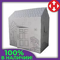 Раскраска домик, 94х100х56 см. Дерево и цветы, это, картонный домик, для детей. Доставим по Украине, фото 1