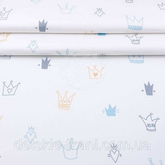 """Поплін шириною 240 см """"Блакитні, золоті і сірі намальовані корони"""" (№3003)"""