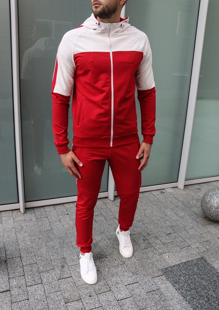 Mужской красный спортивный костюм с лампасами с капюшоном осень/весна.Олимпийка + штаны красные