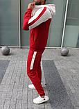 Mужской красный спортивный костюм с лампасами с капюшоном осень/весна.Олимпийка + штаны красные, фото 2