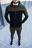 Mужской красный спортивный костюм с лампасами с капюшоном осень/весна.Олимпийка + штаны красные, фото 3