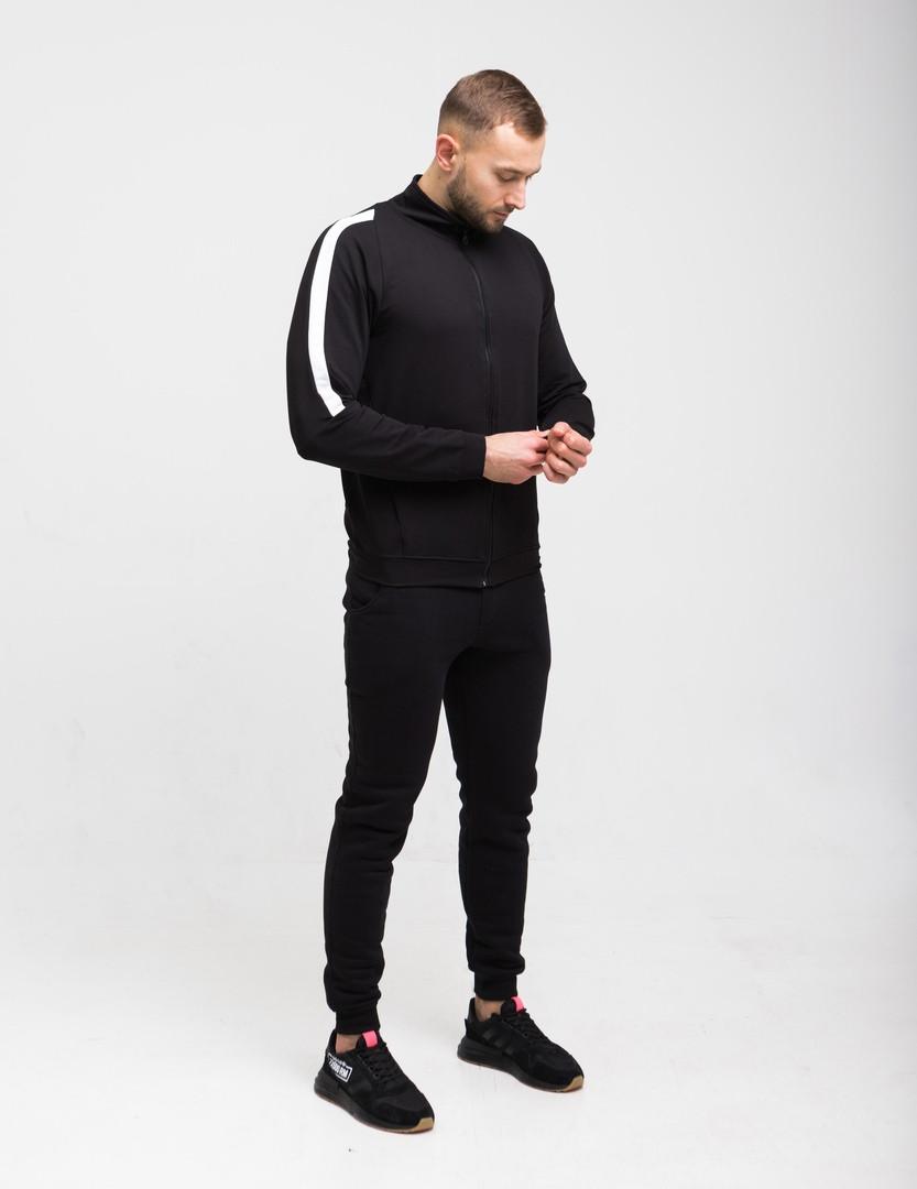 Mужской черный спортивный костюм с лампасами осень/весна.Олимпийка черная+ штаны черные комплект