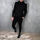 Mужской черный спортивный костюм с лампасами осень/весна.Олимпийка черная+ штаны черные комплект, фото 2