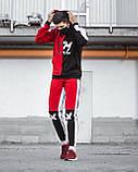 Мужской Спортивный костюм BROKEN красный с капюшоном демисезонный. Худи + штаны красные с лампасами, фото 2