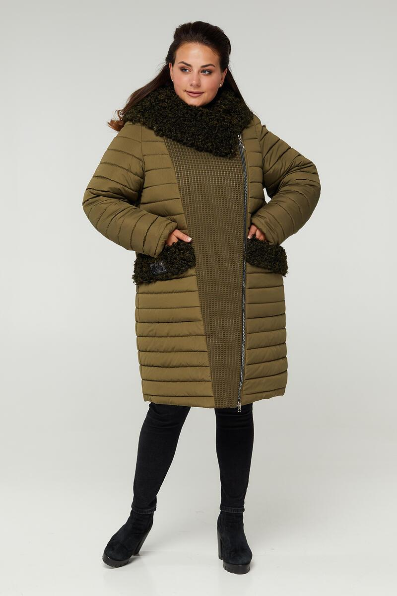 Зимнее комбинированное женское пальто больших размеров 52-68