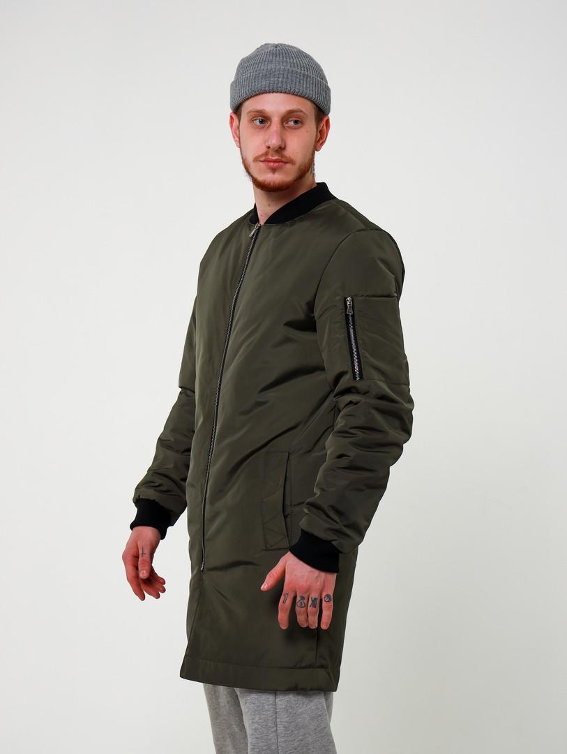 Мужской хаки удлиненный стеганый бомбер плащ без капюшона осень/зима.Мужская зимняя стеганая куртка цвет хаки
