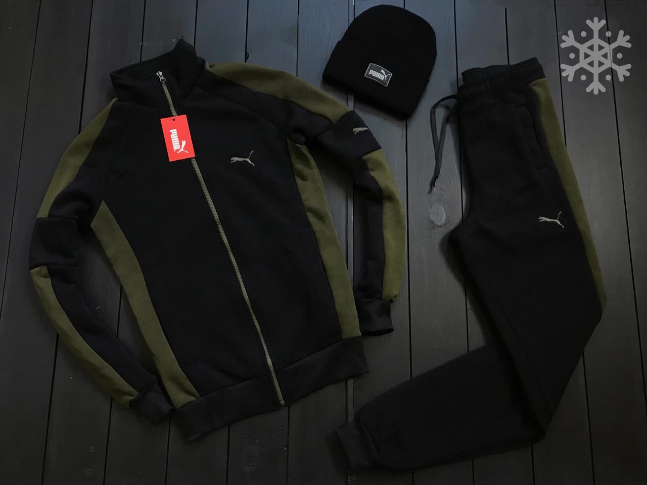 Puma Мужской теплый спортивный костюм черный с лампасами зима/осень.Кофта черная штаны черные демисезонный