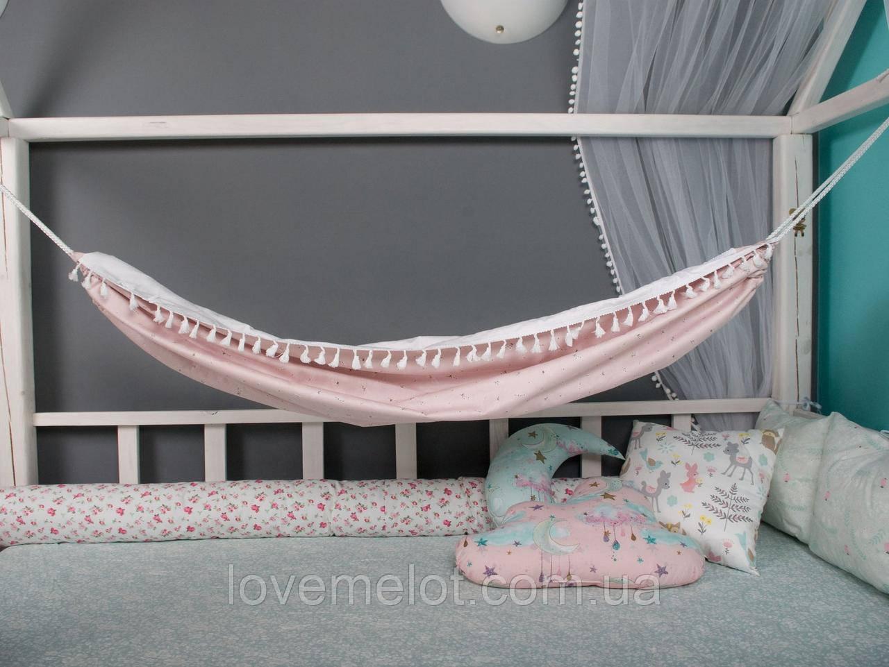 Детский гамак тканевый с кистями, размер 90*140см на 3-6 лет, качель подвесная детская тканевая, бохо стиль