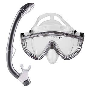 Набор для плавания подростковый маска с трубкой Dolvor M171P+SN59P серый