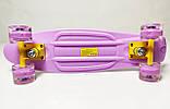 Скейт Penny Board, с широкими светящимися колесами Пенни борд, пенниборд детский, от 4 лет, Сиреневый, фото 3