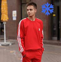 Теплый мужской спортивный костюм зимний Adidas на флисе красный Турция. Живое фото. Чоловічий костюм