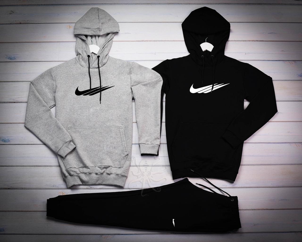Nike Мужской серый спортивный костюм с капюшоном демисезонный.Кенгуру 2шт+ штаны осень