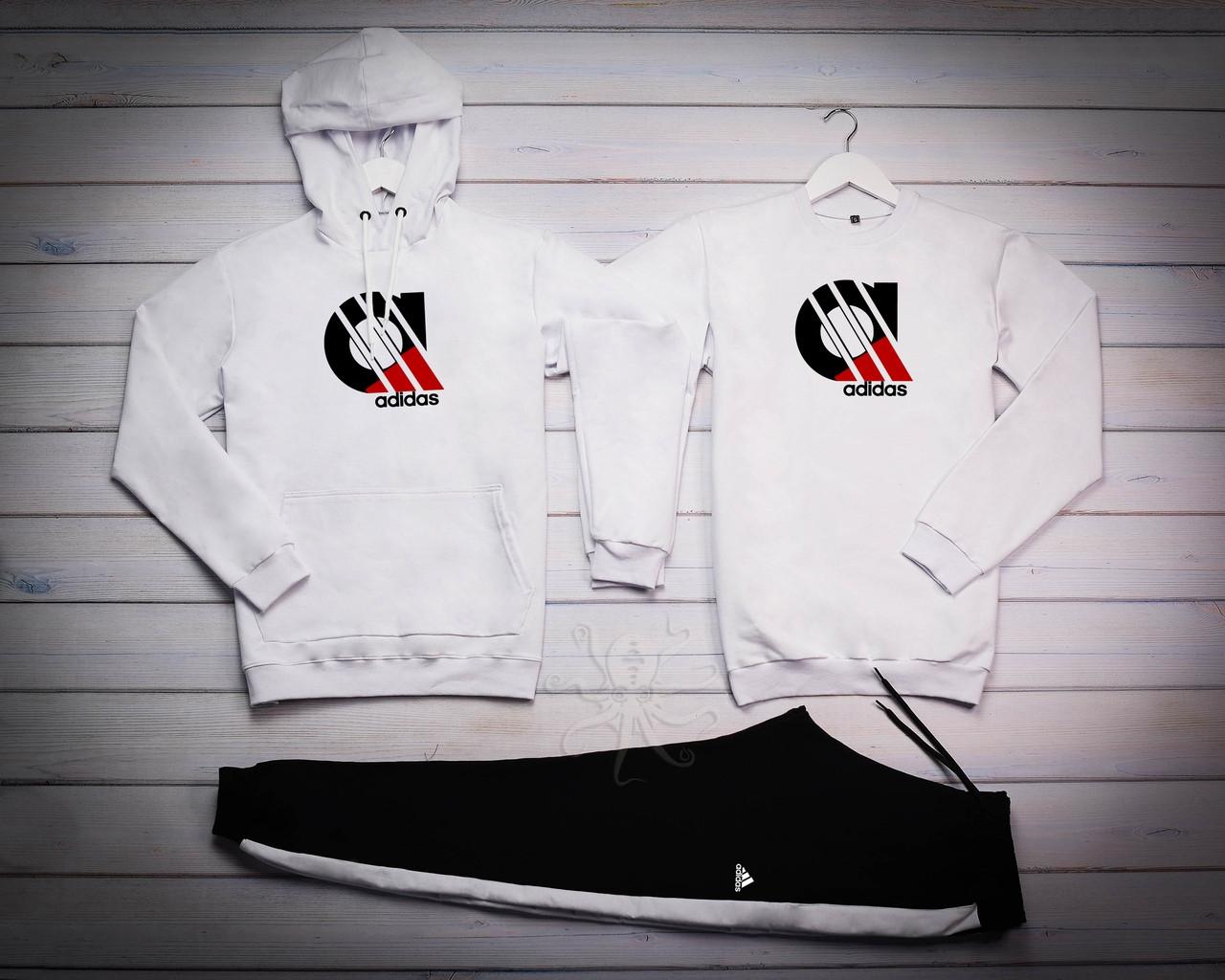 Adidas Мужской белый спортивный костюм с капюшоном демисезонный.Худи+Свитшот белый+штаны черные комплект