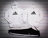 Adidas Мужской белый спортивный костюм с капюшоном демисезонный.Худи+Свитшот белый+штаны черные комплект, фото 2