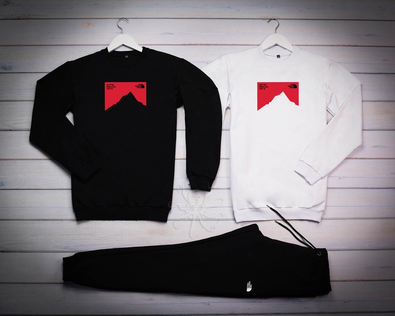 The North Face Mужской черный спортивный костюм демисезонный. Свитшот черный 2шт+ штаны черные
