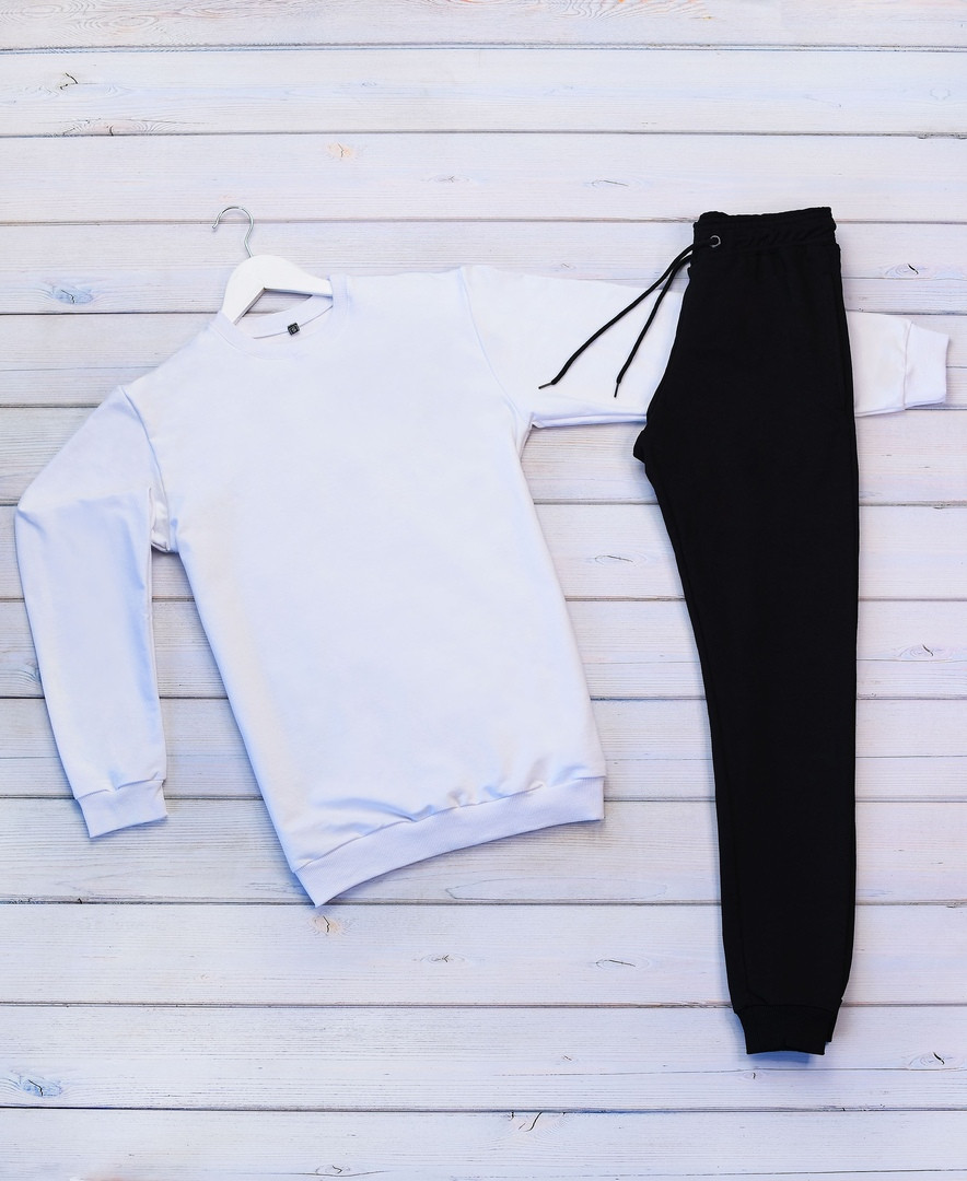 Mужской белый спортивный костюм без капюшона демисезонный. Свитшот белый штаны черные осень/весна