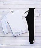 Mужской белый спортивный костюм без капюшона демисезонный. Свитшот белый штаны черные осень/весна, фото 3