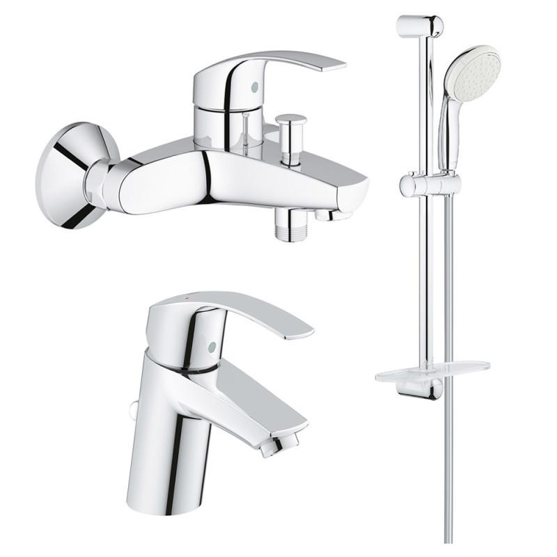 Латунный набор смесителей (кран для ванны и кран для раковины) Grohe Eurosmart S-Size 123238S