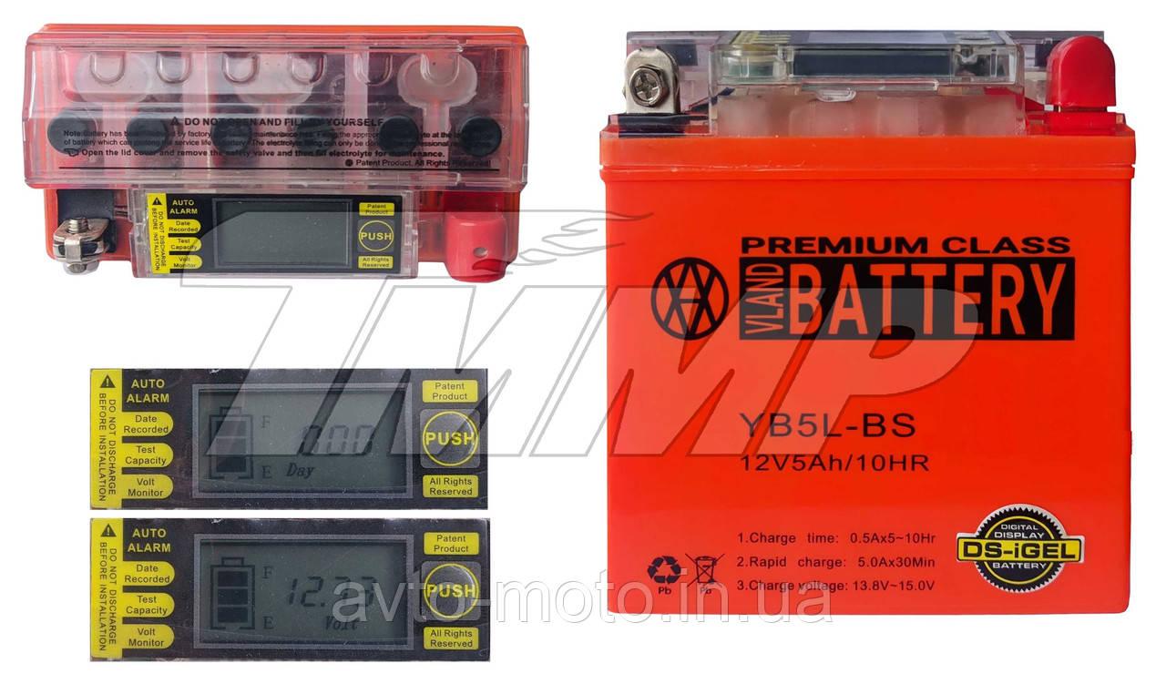 Акумулятор 12v5a.h з вольтметром YB5L-BS 120*60*130mm VLAND