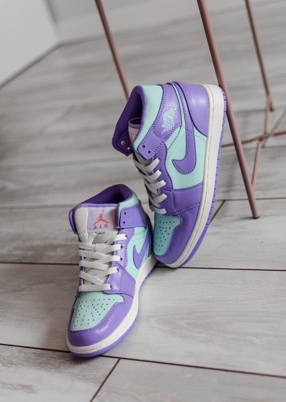 Жіночі кросівки Air Jordan 1 Mid Purple Aqua