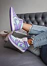 Женские кроссовки Air Jordan 1 Mid Purple Aqua, фото 6