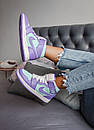 Жіночі кросівки Air Jordan 1 Mid Purple Aqua, фото 6