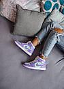 Жіночі кросівки Air Jordan 1 Mid Purple Aqua, фото 7