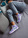 Женские кроссовки Air Jordan 1 Mid Purple Aqua, фото 2