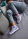 Жіночі кросівки Air Jordan 1 Mid Purple Aqua, фото 2