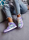 Жіночі кросівки Air Jordan 1 Mid Purple Aqua, фото 8