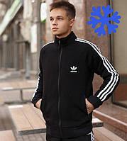 Зимний мужской спортивный костюм теплый Adidas на флисе черный Турция. Живое фото. Чоловічий костюм