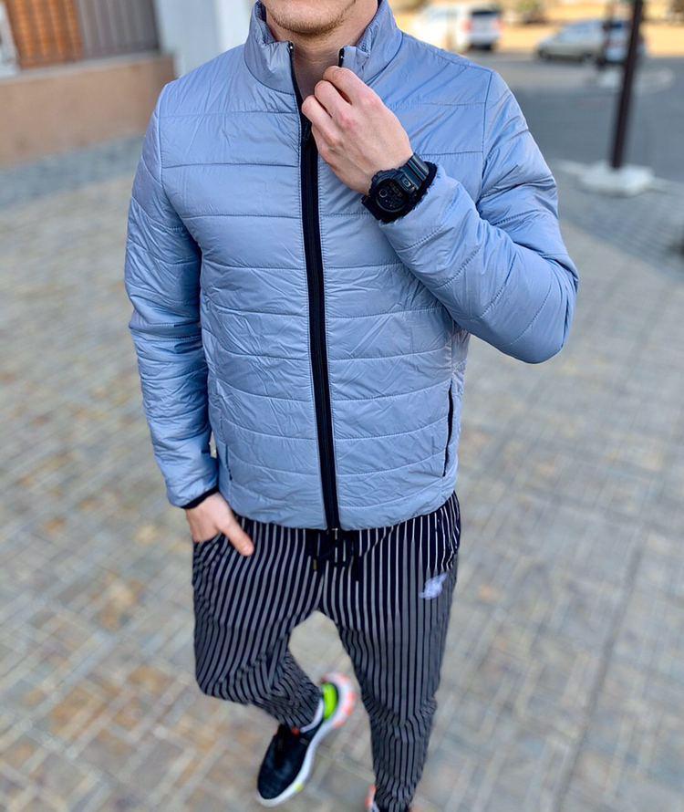 Asos Мужская стеганая короткая голубая куртка ветровка без капюшона осень/весна демисезонная