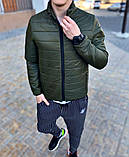 Asos Мужская стеганая короткая голубая куртка ветровка без капюшона осень/весна демисезонная, фото 2