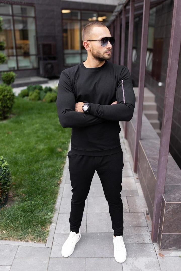 Mужской черный спортивный костюм с замочками осень/весна.Свитшот черный, штаны черные демисезонный комплект