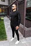 Mужской черный спортивный костюм с замочками осень/весна.Свитшот черный, штаны черные демисезонный комплект, фото 2